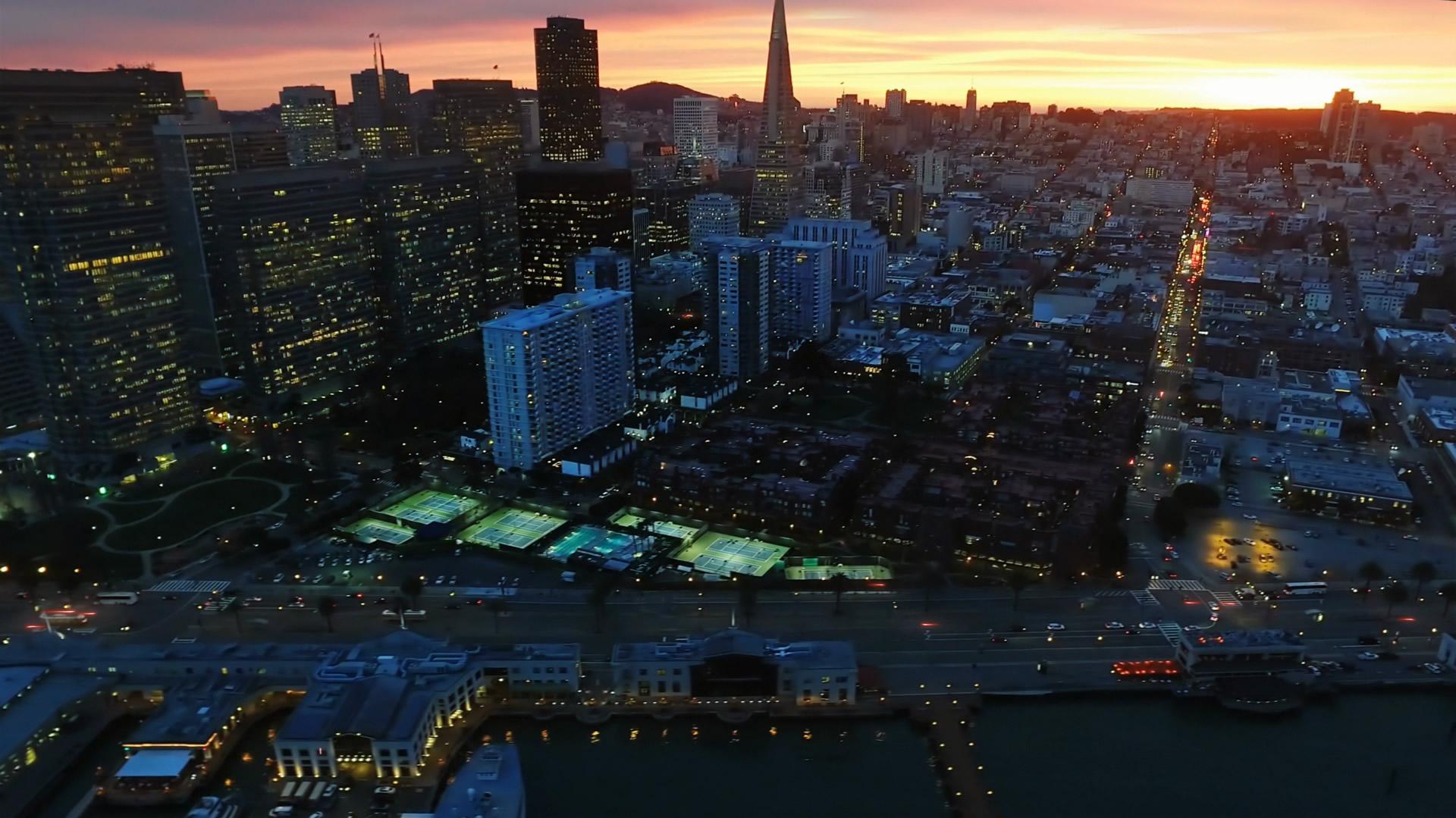 Concept city dusk dawn skyline